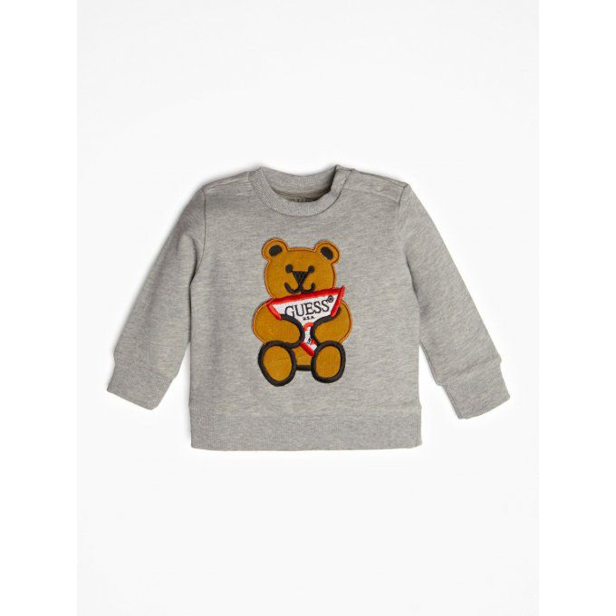 GUESS KIDS Sweat imprimé ourson logo gris clair