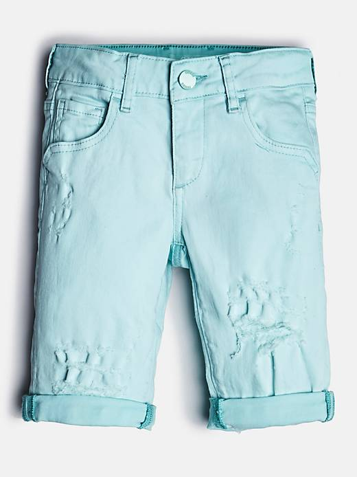 GUESS KIDS short en jeans abrasions frontales turquoise